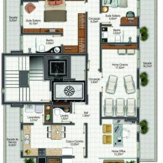 Planta apartamento tipo 3: 3 suítes, 282.00m² área privativa