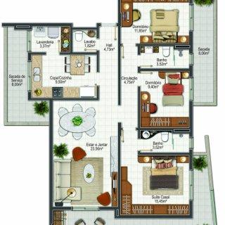 Planta apartamento tipo 1: 3 dormitórios, 1 suítes, 282.00m² área privativa